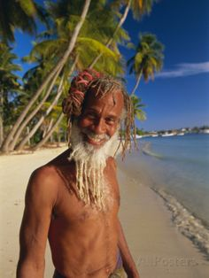 Portrait of a Rasta Man at Pigeon Point, Tobago, Trinidad and Tobago, West Indies, Caribbean Photographic Print by Gavin Hellier at AllPosters.com