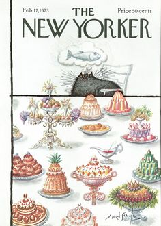 The  New Yorker, 1973, Ronald Searle Cat Feast