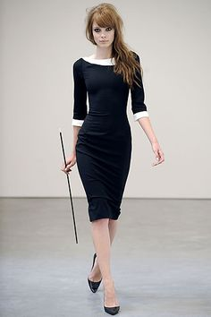 Form-fitting black dress