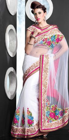 White Net Saree 19004 With Unstitched Blouse