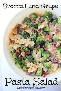 Broccoli and Grape Pasta Salad on MyRecipeMagic.com #pasta #salad #broccoli #grape