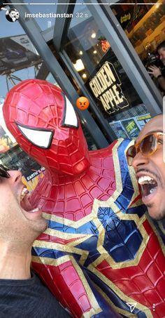 Sebastian Stan and Anthony Mackie met our friendly neighborhood Spider-Man!
