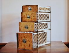 Set of 4 #Rusty Metal Drawers with perforated sides ~ fab #industrial storage - SOLD! :)