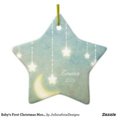 Shop Baby's First Christmas Moon Stars Picture Ornament created by JoSunshineDesigns. Babys 1st Christmas, First Christmas Ornament, Star Ornament, Picture Ornaments, Baby Ornaments, Christmas Photos, All Things Christmas, Christmas Stationery, Star Pictures