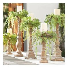 Grandin Road Hacienda Candlesticks, Set Of Five - Faux Wood ($99) ❤ liked on Polyvore featuring home, home decor, candles & candleholders and grandin road