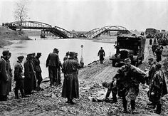 War 1939-1945. Invasion of the Greece by Germans. German column crossing a river on a dyke built by pionneers. April 1941. Pin by Paolo Marzioli