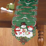 Beautifully embroidered with a scene of festive snowmen, poinsettias, Christmas trees and presents, these linens feature intricate cutouts and a delightful Christmas Couple, Family Holiday, Country Christmas, Snowman Christmas Decorations, Christmas Snowman, Holiday Decor, Christmas Table Linen, Collections Etc, Square Tables
