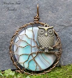 Bronze Owl in Tree with Aqua and Lavender Agate Moon