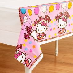 "Hello Kitty Balloon Dreams Tablecover - Plastic tablecover. Measures 54"" x 102""."