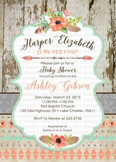 tribal baby shower invitation BOHO bridal shower by katiedidesigns