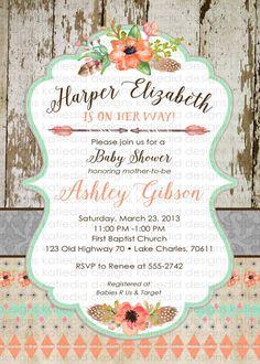 tribal baby shower invitation BOHO bridal shower by katiedidesigns