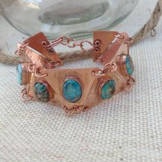Copper Triangle Turquoise Colored Jasper Bangle by JewelryByMaree, $75.00