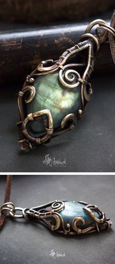 Fantasy wire wrapped pendant // Elvish necklace // Elven jewelry