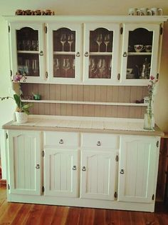 Painted pine buffet and hutch. I used Annie Sloan chalk paint in Antique white and Coco.