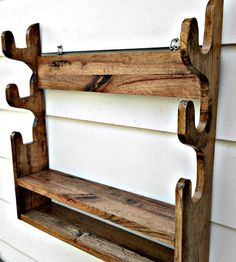 Gun Rack Solid Oak holds 3 Guns with shelf by RobsRusticCreations