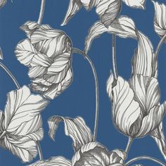 Laurence Llewelyn-Bowen Blue Bosphorous Tulips LLB Harem Wallpaper | Debenhams