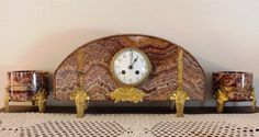 French marble mantel set 8 days bell striking clock