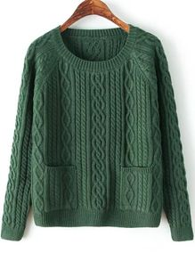 Diamond Patterned Pockets Dark Green Sweater