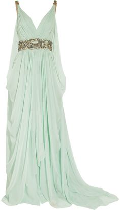 Crystal-embellished silk-chiffon gown by Marchesa. Crystal and bead embellishment adorns the shoulders and waist of this aqua silk-chiffon gown, and fluid draping creates an elegant silhouette. Green Evening Dress, Evening Dresses, Prom Dresses, Green Gown, Long Dresses, Bridesmaid Gowns, Dress Prom, Grecian Bridesmaid Dress, Bridesmaids