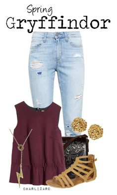 """Gryffindor"" by charlizard ❤ liked on Polyvore featuring Paige Denim, H&M, Pinky and Versus"