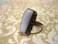 Vintage Sterling Silver Blue Lace Agate Ring by charmingellie, $38.00