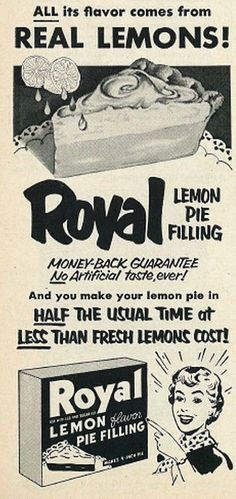 Food infographic  1953 Illustrated Ad Royal Lemon Pie Filling | Vintage 1950s | Flickr