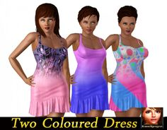 Two Coloured Dresses by luckyoyo - Sims 3 Downloads CC Caboodle