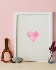 5 Last-Minute DIY Ideas for Saying Happy Valentine's Day - Framed Pixel Heart