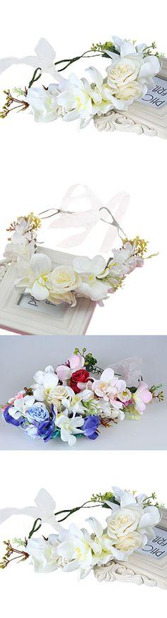 Vivivalue Floral Garland Flower Wreath Headband Crown with Ribbon Boho for Festival Wedding Beige