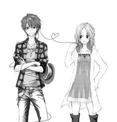 Manga couple. .anime couple. .boy and girl. .black and white