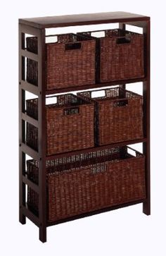 $127 Amazon.com: Winsome Wood Leo Wood 4 Tier Shelf with 5 Rattan Baskets - 1 large; 4 small in Espresso Finish: Home & Kitchen