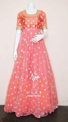Beautiful blush pink color and orange color combination floor length anarkali dress with floral design hand embroidery mirror work. Floor Length Anarkali, Floor Length Dresses, Orange Color Combinations, Anarkali Kurti, Churidar Designs, Kids Frocks, Embroidered Blouse, Pink Color, Designer Dresses