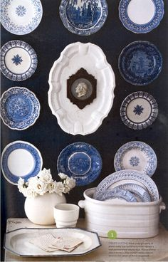 Blue And White Plates love the wall and the blue & white plates! | blue and white plate