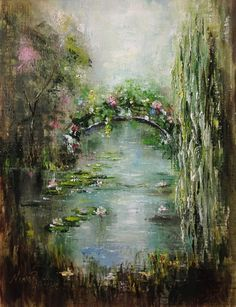 Lily Pond Original Oil Painting  by Nina R.Aide Fine Art Landscape Nature Pond Wall Decor Floral Matted Framed on Etsy #pond#water lilies#garden#landscape