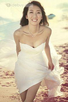 低高見事なAライン恋人はビーチウェディングドレス非対称