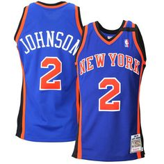 Mens New York Knicks Larry Johnson Mitchell & Ness Royal Blue 1998 Authentic Basketball Jersey