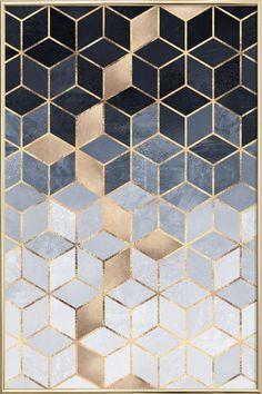 Soft Blue Gradient Cubes en Affiche sous cadre en aluminium | JUNIQE