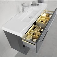 The Bathroom Company Dansani | The Menuet washbasin and vanity unit with plenty of storage space for towels and accessories.