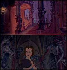 """""""Some of the sculptures seen in the castle are early concept versions of the Beast."""" Posted on buzzfeed.com (image credit disney-hiddensecrets.tumblr.com) by Brian Galindo."""