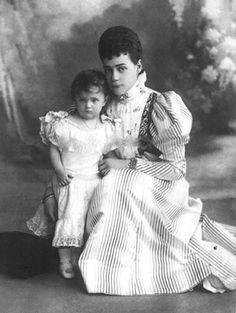 "GD Xenia with her daughter Princess Irina ""Baby Rina"" (1895-1970), future wife of Prince Felix Yusupov."