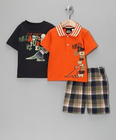 Take a look at this Orange & Navy 'Wild Adventurer' Shorts Set - Infant & Toddler by Boys Rock on #zulily today!