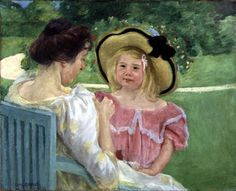 Mary Cassatt  Title: In the Garden  Date:1904   Medium: Oil Dimensions:26 3/4 x 32 1/2 in. Museum: Unknown