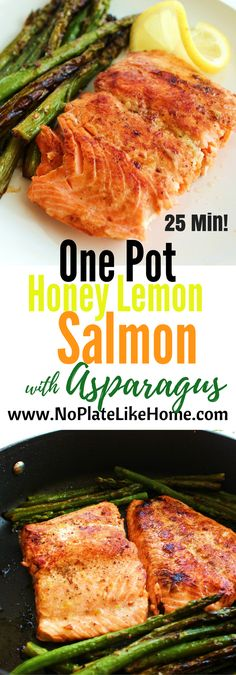 This delicious and hearty Honey Lemon Salmon with Asparagus is an easy one pot meal that's perfect for weeknight dinners. This is a healthy meal option without refined sugars. Pin for later. Honey Lemon Salmon, Salmon And Asparagus, Asparagus Recipe, Asparagus Ideas, Salmon Recipes, Fish Recipes, Seafood Recipes, Cooking Recipes, Recipies