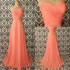 Peach Long Chiffon Prom Evening Party Homecoming Cocktail Bridesmaid Formal Dresses 34 28