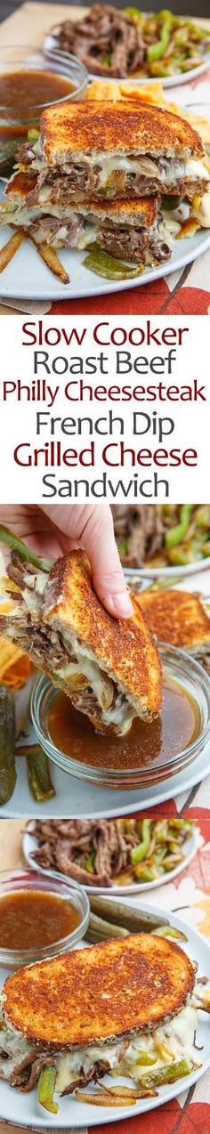 Slow Cooker Roast Beef Philly Cheesesteak French Dip Grilled Cheese Sandwich by manuela