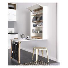 HTH Table ID giver mulighed for spiseplads eller kontorplads, hvor kvadratmetrene er få • Ophæng til vinglas • Tallerkenrække • Ben • Bestikbakke
