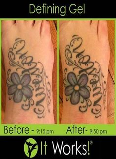 Tattoos dull over time Use It Works defining gel to bring back the ink!! Call or text 520-840-8770 http://bodycontouringwrapsonline.com/uncategorized/it-works-defining-gel
