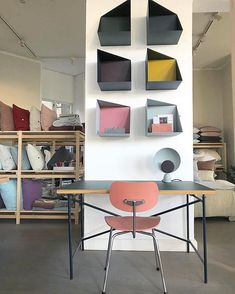Modern Interiors Design : Wall boxes and Egon Eiermann table and chair from pleasewaittobeseated via still