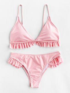 SheIn offers Ruffle Trim Triangle Bikini Set more to fit your fashionable needs. visit www. Bikini Babes, Pink Bikini, The Bikini, Bikini Swimwear, Sexy Bikini, Flounce Bikini, Summer Swimwear, Bikinis Tumblr, Ropa Interior Boxers