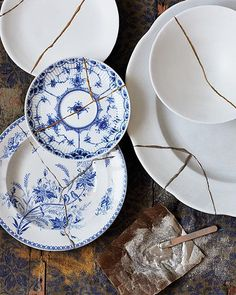 DIY Kintsugi Plate--ancient Japanese art of Kintsugi, repair of broken pottery